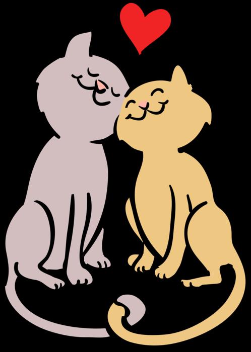 vector transparent Romantic Cats in Love