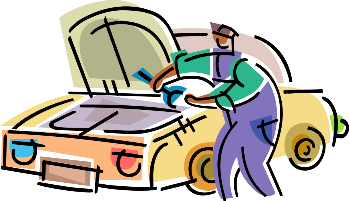 svg royalty free library Auto Repairman Works on Car