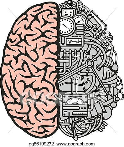 image black and white stock Vector machinery brain. Art icon for business