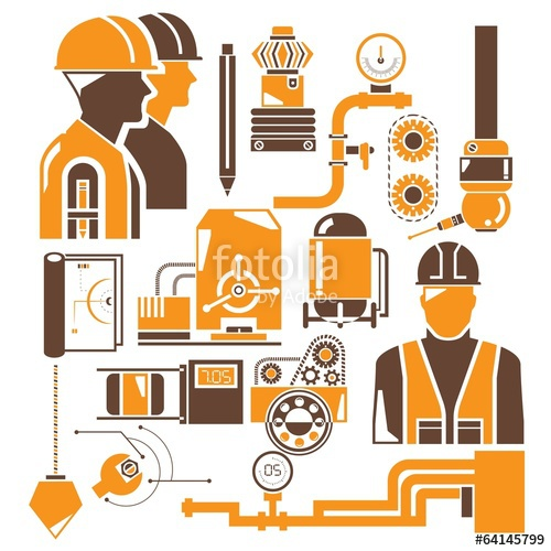 vector library stock Industry icons orange stock. Vector manufacturing.
