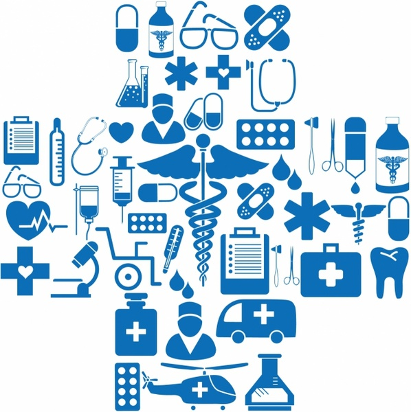 jpg transparent Vector medical. Icons in cross shape.