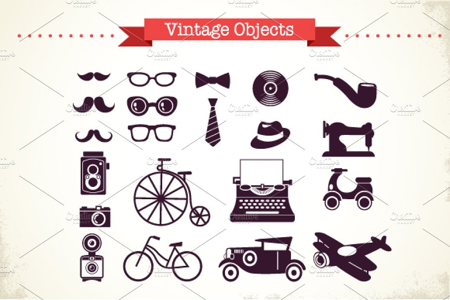 vector freeuse library Vintage objects set . Hipster vector graphic design