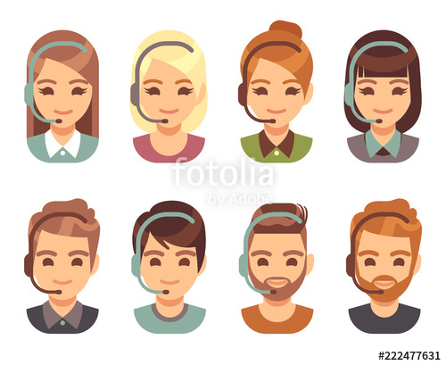 png freeuse download Call center man and. Vector operator cartoon