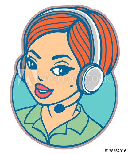 clipart stock Young woman with headset. Vector operator cartoon