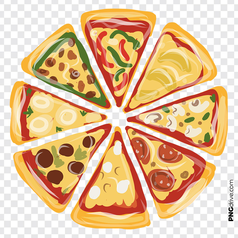 png transparent Vector pizza. Top view png image