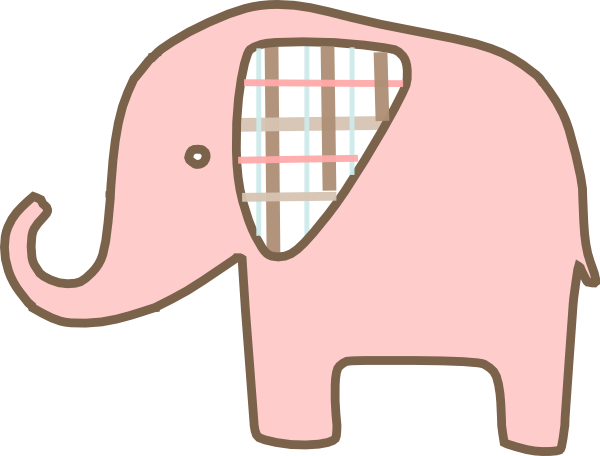 clip transparent library Pink Plaid Elephant Clip Art at Clker