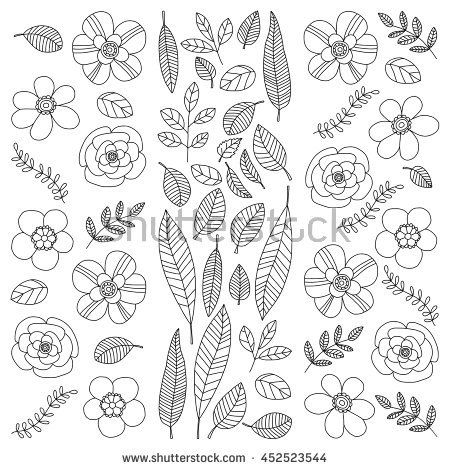 image royalty free download Vector plant doodle. Set with tropical plants