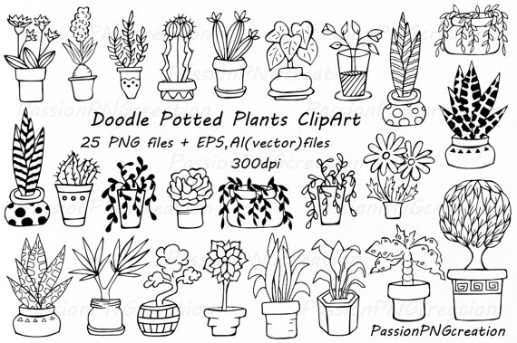 banner library library Vector plant doodle. Potted plants clipart hand.