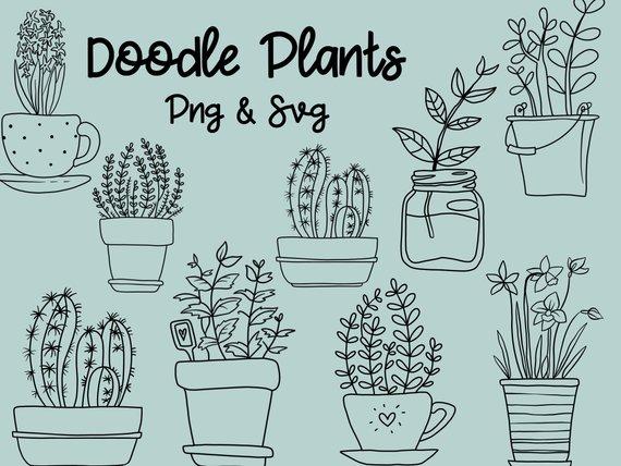 png black and white stock Vector plant doodle. Doodles clipart clip art