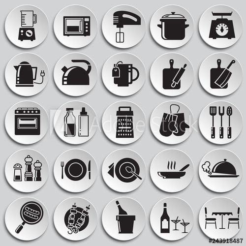 graphic library stock Kitchen icons set on plates background for graphic and web