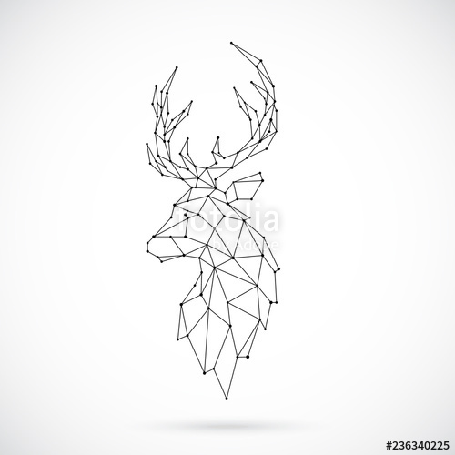 banner library download Vector polygon deer. Geometric silhouette image of