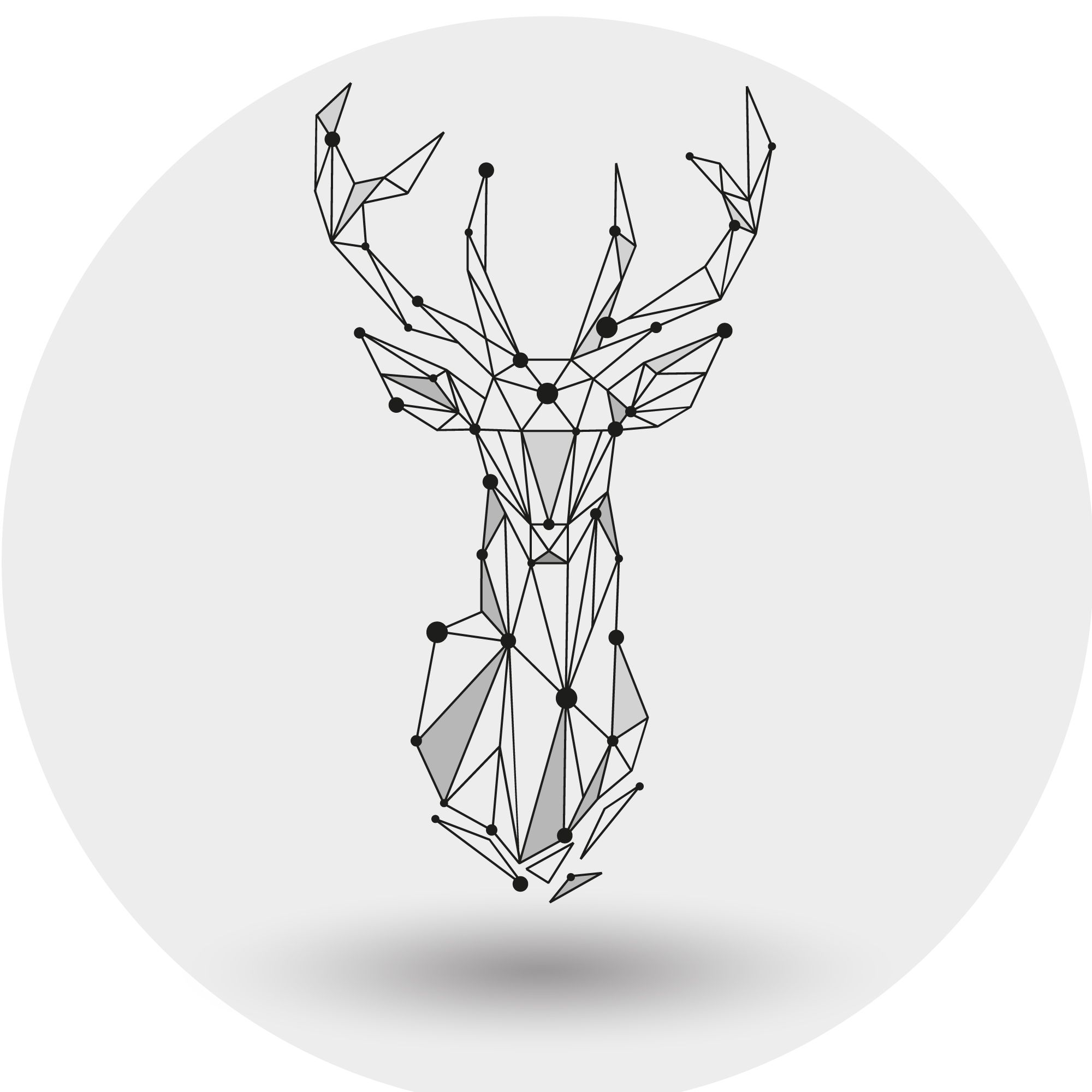 graphic black and white stock Pokygons abstract polygonal the. Vector polygon deer