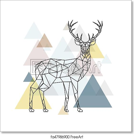 clip art free stock Free art print of. Vector polygon deer