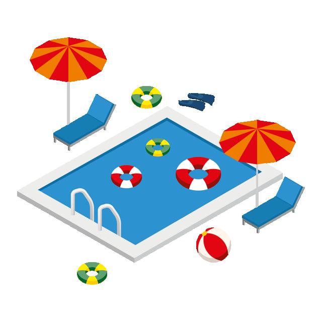jpg freeuse Bikini vector summer element. Isometric swimming pool with