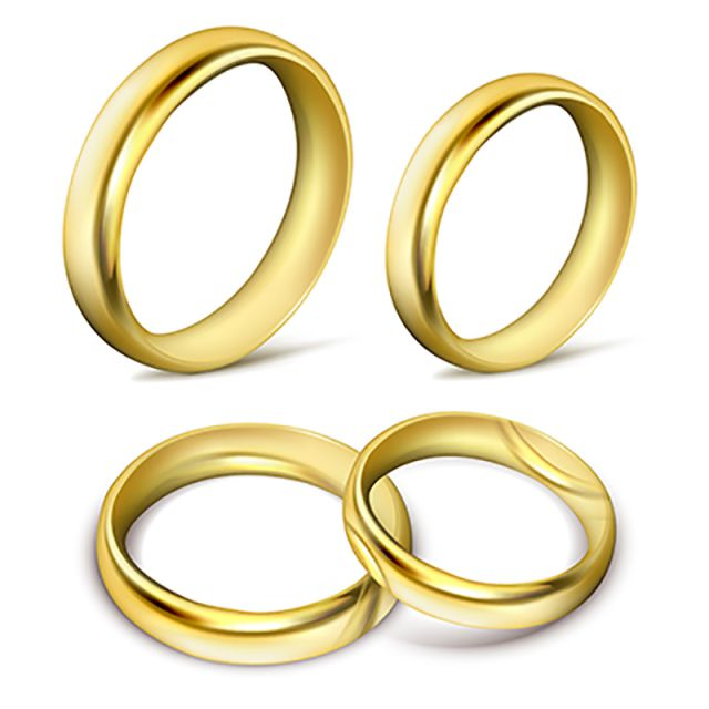 banner freeuse stock Set Of Realistic Vector Illustrations Of Gold Wedding Rings