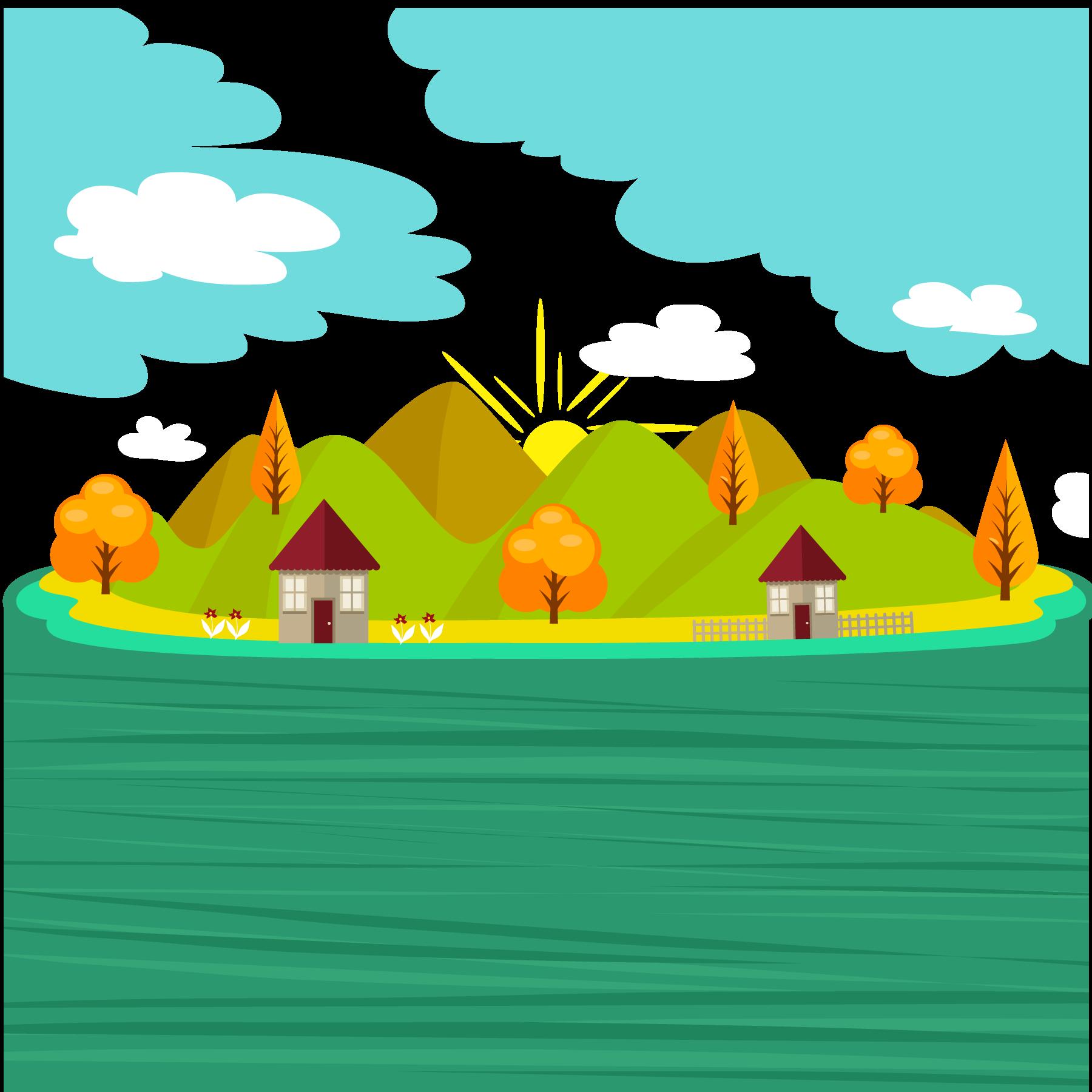 jpg free download Vector river. Cartoon illustration green small