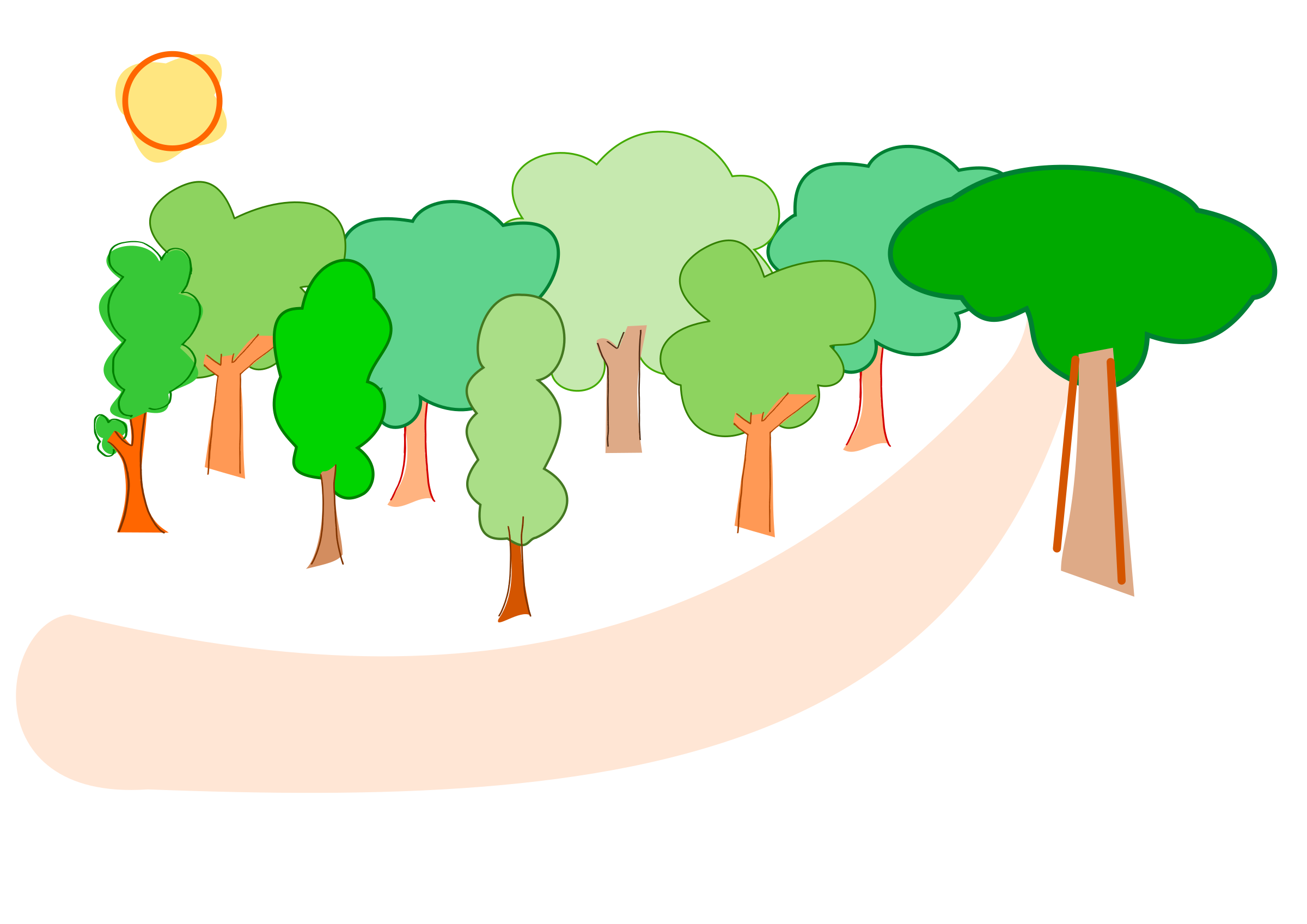 freeuse Collection of free river. Vector cartoons forest