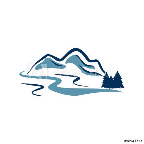 vector download Canyon adventure logo illustration. Vector river mountain