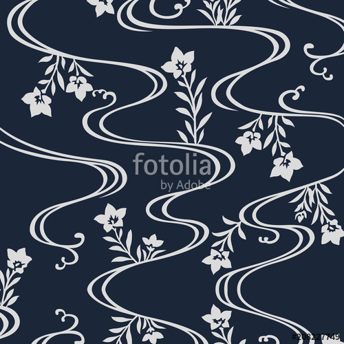 svg Vector river pattern. Japanese flowers flowing stock