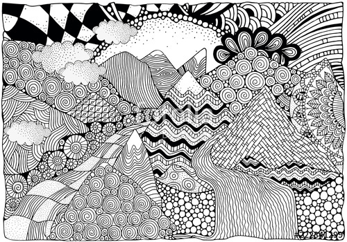 vector free Black and white abstract. Vector river pattern