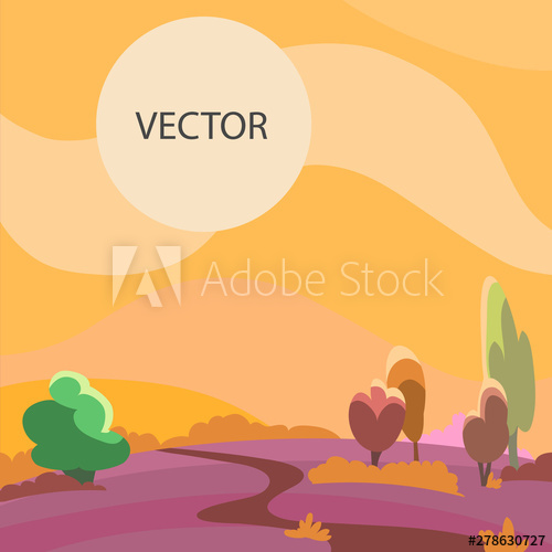 clip free library Summer landscape illustration the. Vector road wavy