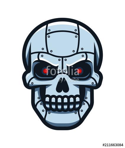 svg download Of the metallic cyborg. Vector robot skull
