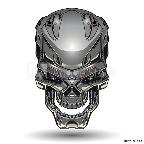 transparent stock Vector robot skull. Illustration buy this stock