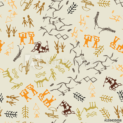 image freeuse library Seamless cave painting with. Vector rock drawing