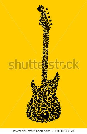 picture freeuse library Stock music tattoo skull. Vector rock guitars