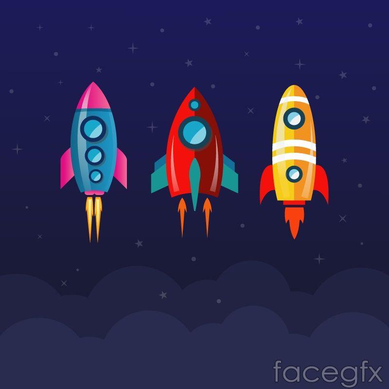 banner freeuse stock  cartoon rocket design. Vector rockets animated