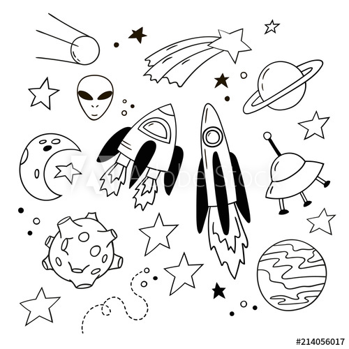 clip transparent download Set of lovely doodle. Vector rockets white