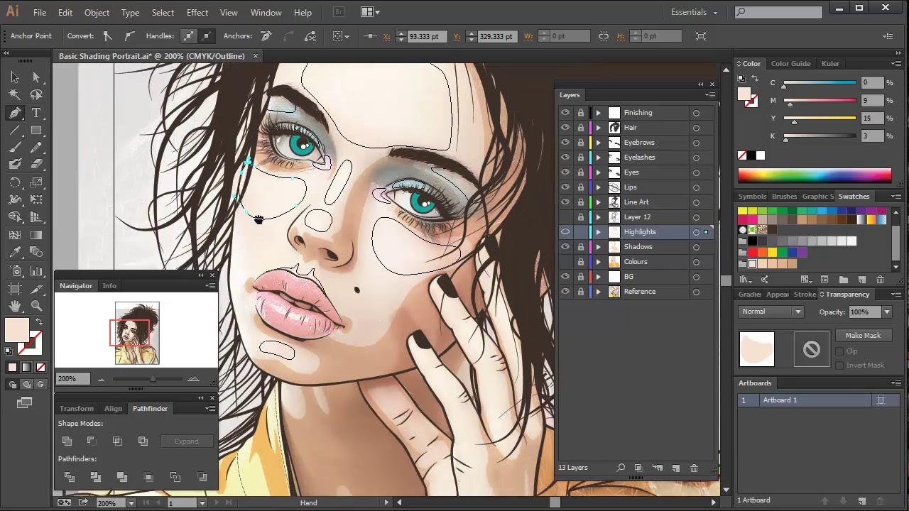 vector freeuse stock Vector shading. Skin the highlights portraits.