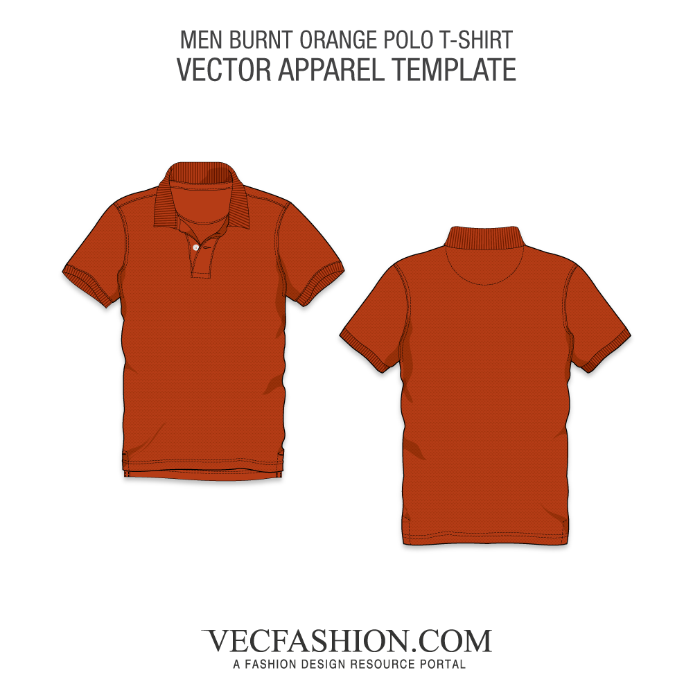 image free Burnt Orange Classic Polo Shirt Vector Template