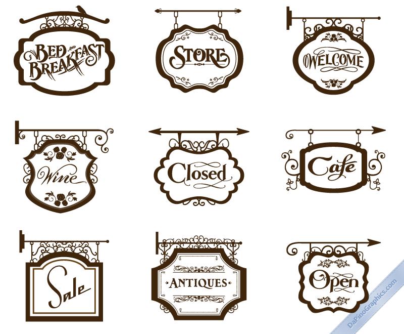 jpg free download Vector signs. Vintage store set i