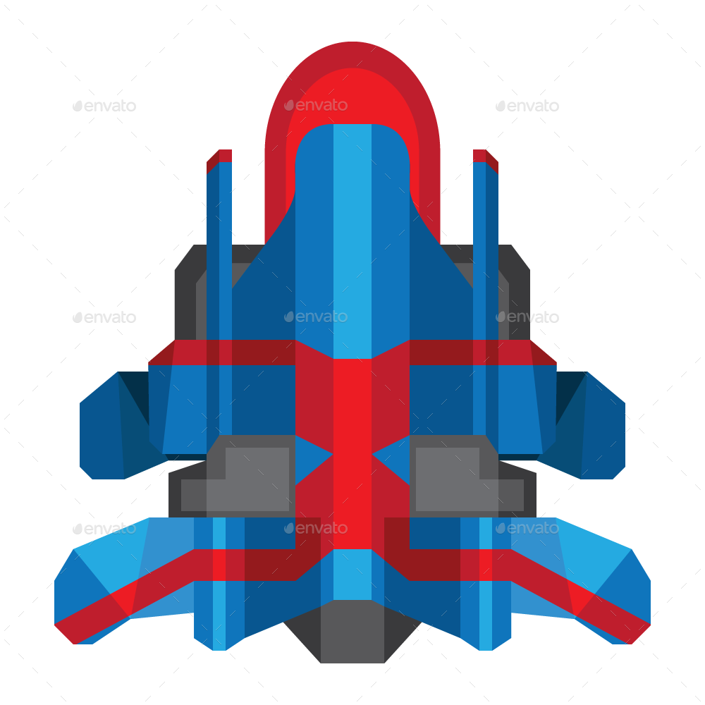 vector royalty free stock Vector spaceship.  flat sprites by
