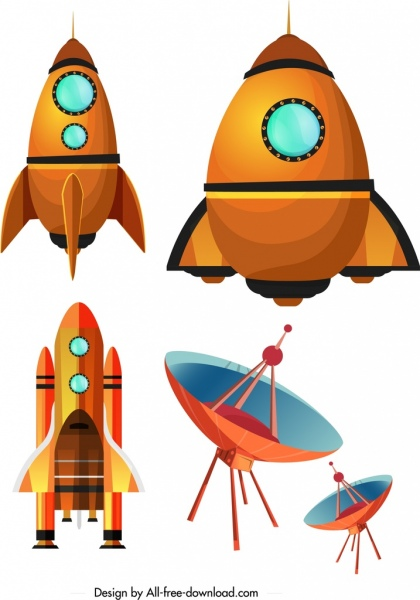 banner freeuse Space science design elements. Vector spaceship element