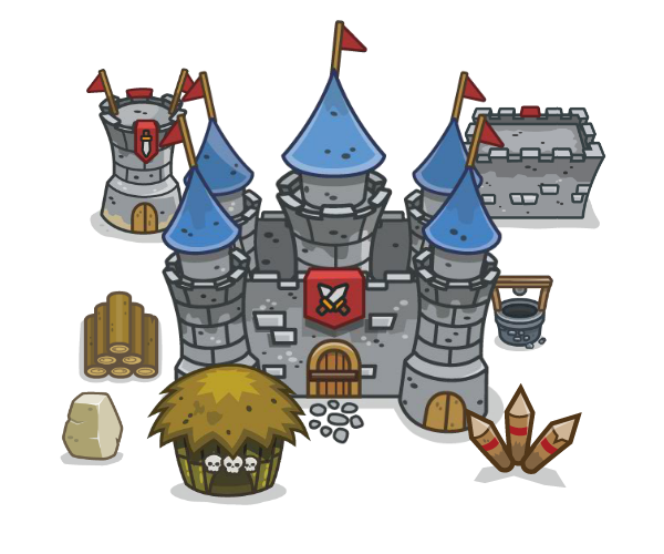 vector library stock Medieval Top Down Tower Defense Art