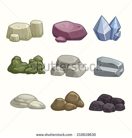 clip art library download Set of cartoon and. Vector stones.