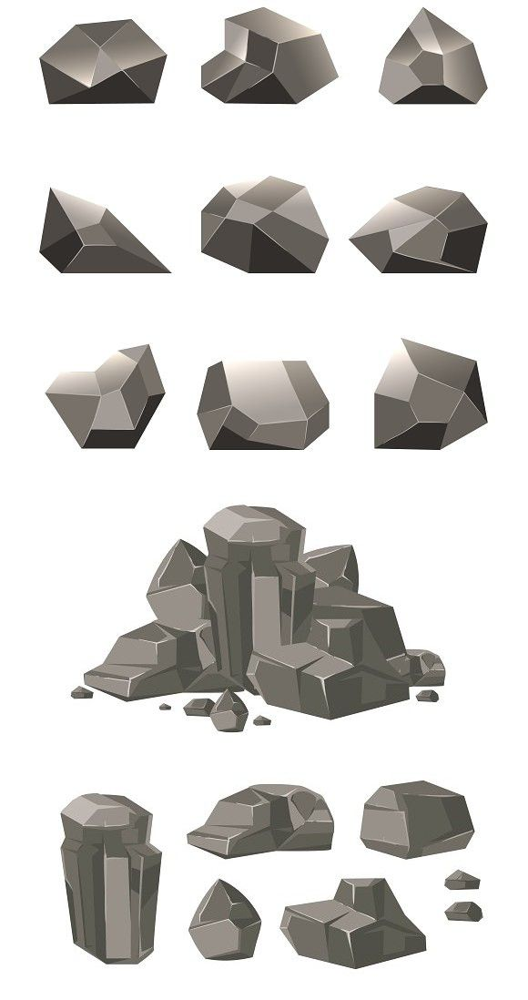 picture black and white library Cartoon rock boulder in. Vector stones.