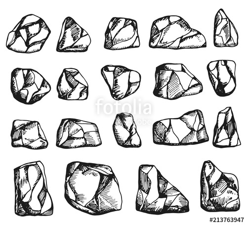picture royalty free library Vector stones. A set of monochrome.