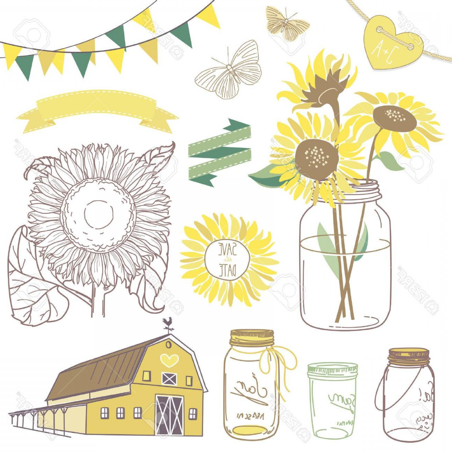 clipart free library Photoglass jars sunflowers ribbons. Vector sunflower rustic