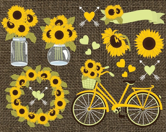 image free library Vector sunflower rustic. Sunflowers clipart wreath burlap