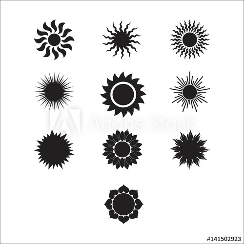 clip royalty free library Sun burst icon set. Vector sunshine black