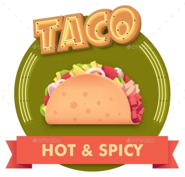 banner library Illustration or label for. Vector taco