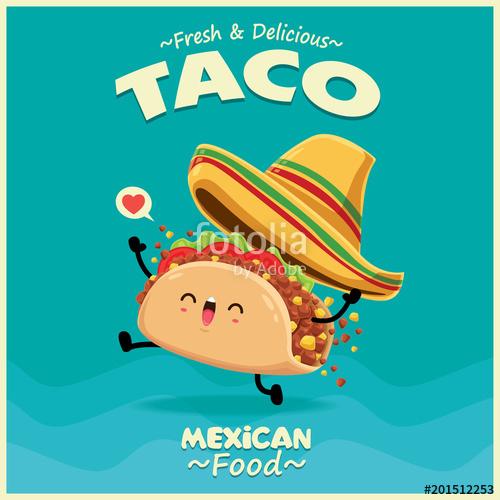 png transparent download Vector taco. Vintage mexican food poster