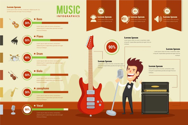 vector free stock Music infographic psd and. Vector template.