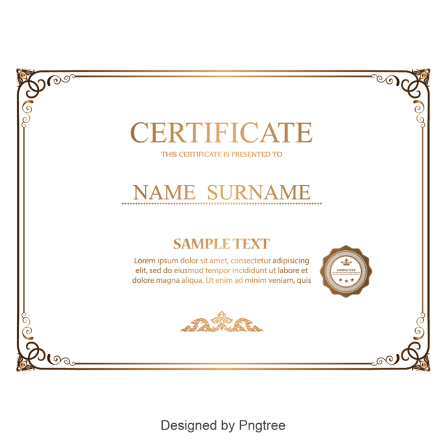 vector free library Vector certificate diploma. Simple and generous gold