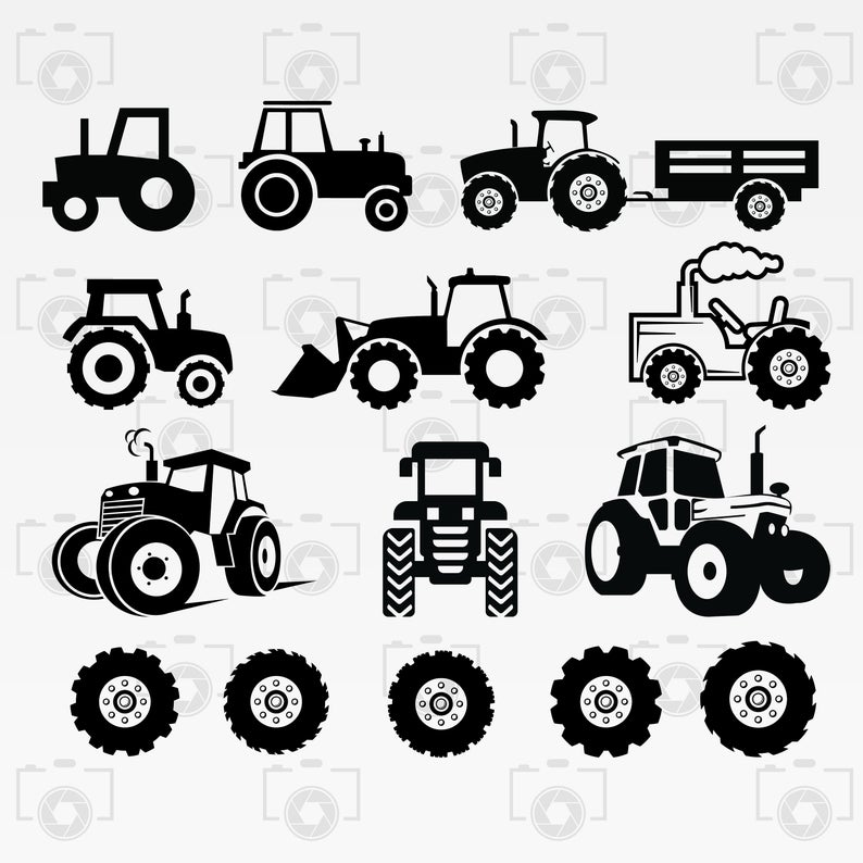 banner transparent library Svg silhouette digital clipart. Vector tractor