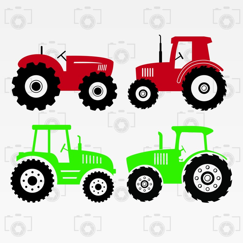 vector black and white Svg bundle digital clipart. Vector tractor
