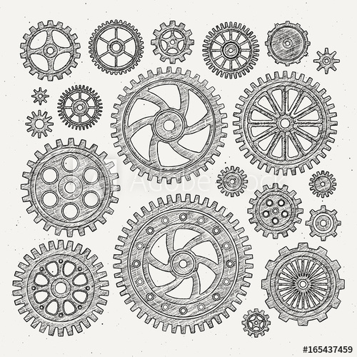 graphic download Vector wheels mechanical. Industrial illustration set of